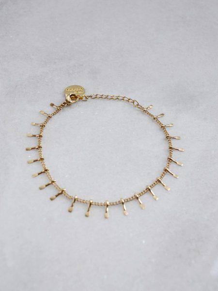 "Bracelet Marina ""BOHEMIAN MOOD"" - Bracelet chaîne pampilles petits picots acier inoxydable or"