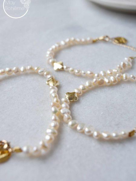 """Bracelet Aude """"BOHEMIAN MOOD"""" - Bracelet perles d'eau douce Perle trèfle plaqué or"""