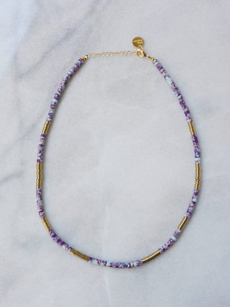 "Collier Lahor ""INDIAN MOOD"" - Collier Heishi turquoise Afghane tigrée bleu violette hématite"