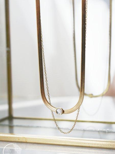 """Collier Little Gladys """"BOHEMIAN MOOD"""" -double Chaines serpent nacre dorée acier inoxydable"""