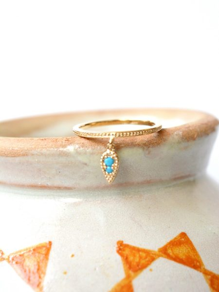 """Bague ASSIA """"INDIAN MOOD"""" - Bague indienne Bindi goutte plaqué or strass turquoise"""