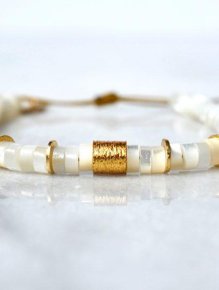 """Bracelet Little Fathaï """"ROOTS"""" - Bracelet perles pierres fines et tube dorées à l'or fin"""