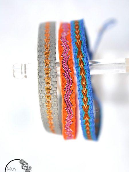 """Bracelet Rama """"ROOTS"""" - Bracelet ruban tissé coloré lien coulissant"""