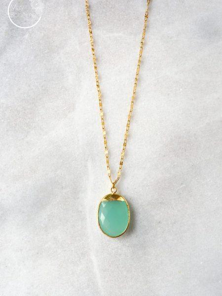 "SAUTOIR JOSY ""BOHEMIAN MOOD"" - Sautoir pendentif oval en pierre fine calcédoine verte"
