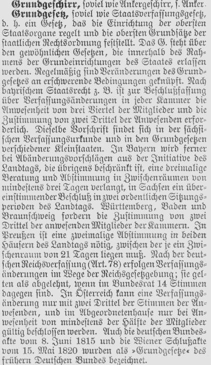 Grundgesetz, Meyers Lexikon 1905