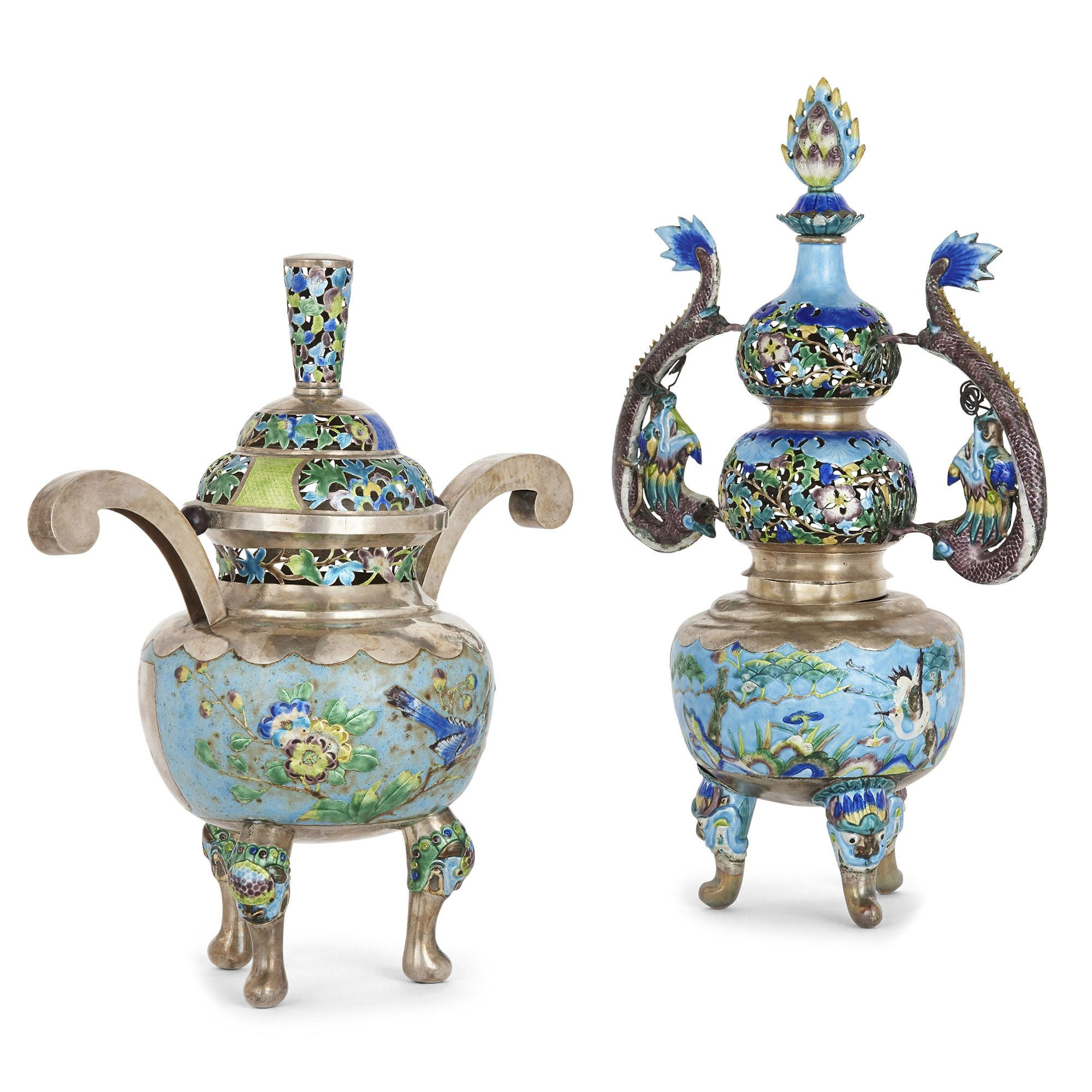 Two Qing Dynasty Silver And Enamel Incense Burners
