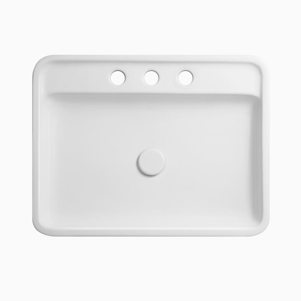 23 poise rectangular ceramic above counter vessel sink with 8 widespread faucet holes without overflow in white