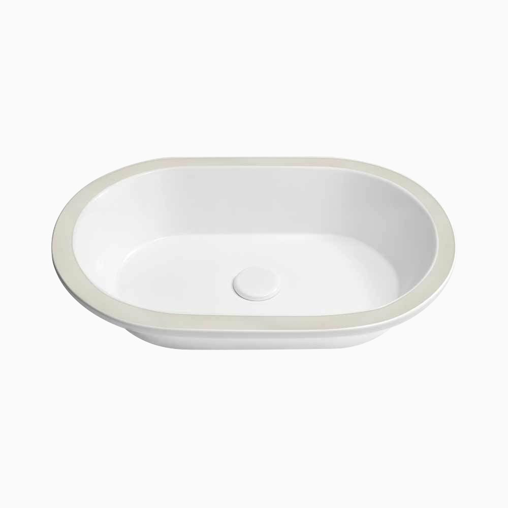 22 forge oval ceramic undermount sink without overflow in white