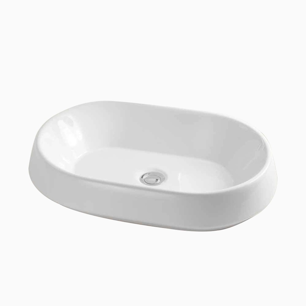23 stadium oval ceramic above counter vessel sink without overflow in white
