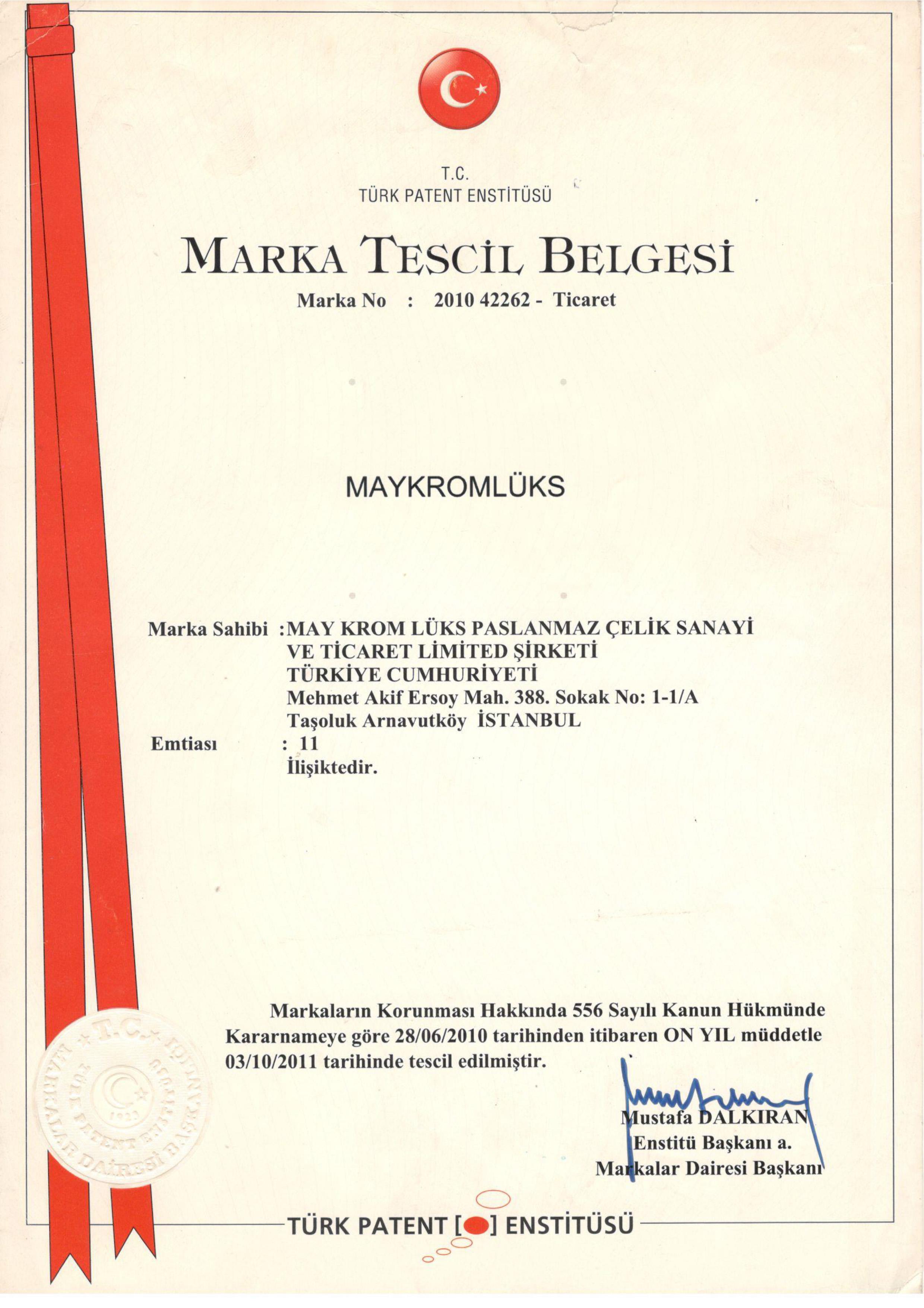 MARKA TESCIL BELGESI2 - CERTIFICATES