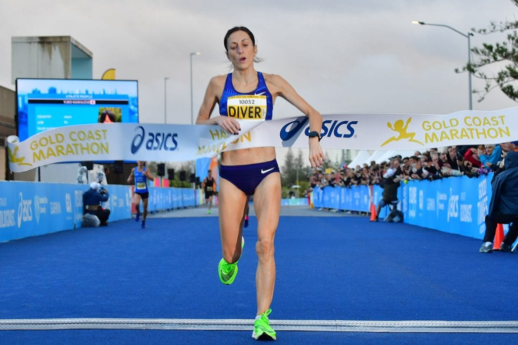 Sinéad Diver breaks the tape to win the Gold Coast Half Marathon