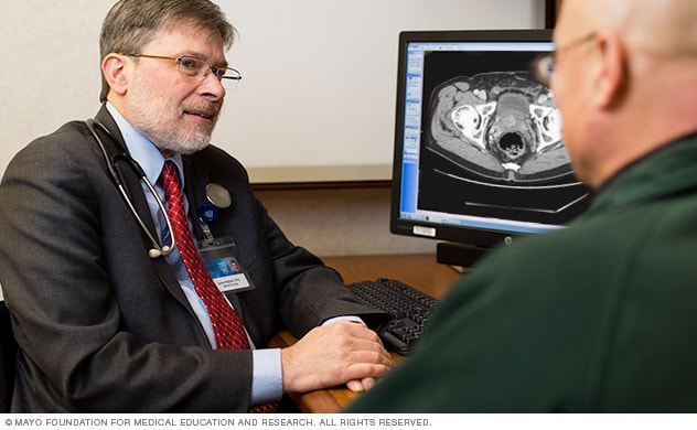 Doctor talks with prostate cancer patient