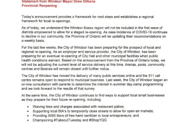 Statement from Windsor Mayor Drew Dilkens on the Provincial Reopening