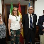 La presidenta de la Asamblea de Extremadura Blanca Martín, junto a los presidentes Satur Álvarez, Petri García y Juan Sánchez. Fotografía cedida por la Asamblea de Extremadura.