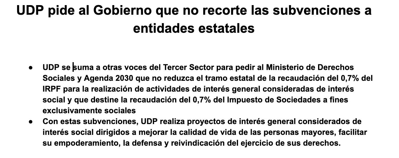 UDP pide al Gobierno que no recorte las subvenciones a entidades estatales