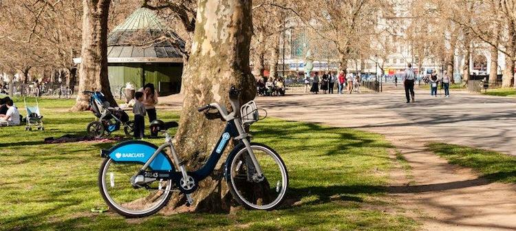 A Boris Bike in Hyde Park.