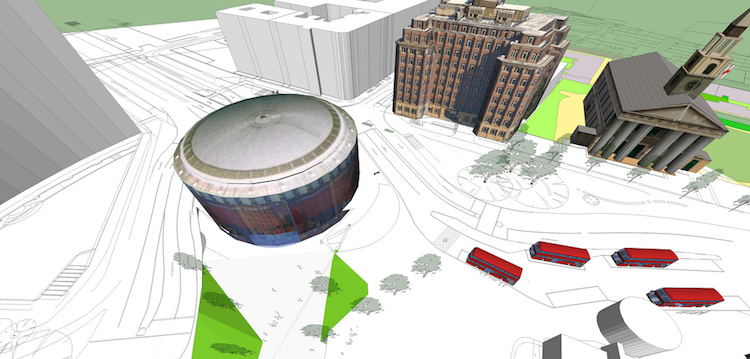 Waterloo's IMAX roundabout is to be transformed, offering better public space, transport connections and cycling facilities. Image: TfL