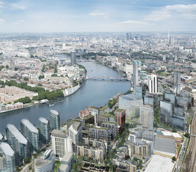 The proposed bridge would link Nine Elms to the north bank of the Thames. Image: Embassy Gardens by Ballymore