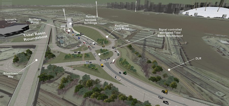 Proposed junction layout on the north side of Silvertown Tunnel. Image: TfL