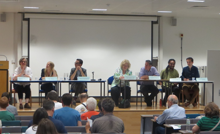 L-R: Caroline Russell, Sian Berry, Benali Hamdache, Jonathan Bartley, Rashid Nix and Tom Chance speaking at the Green party hustings for Mayor.