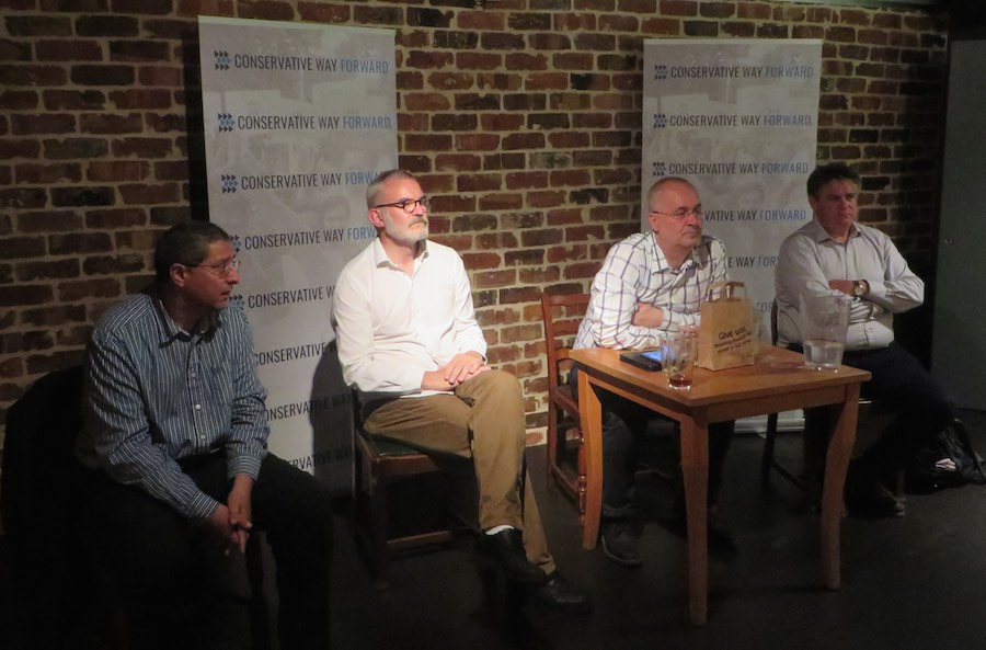 Simon Fawthrop, Andrew Boff and Stephen Greenhalgh speak at the Conservative Way Forward hustings.