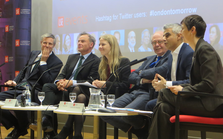 L-R: Zac Goldsmith, Peter Whittle, Sian Berry,  panel chair Colin Stanbridge, Sadiq Khan and Caroline Pidgeon are seeking to replace Boris Johnson.