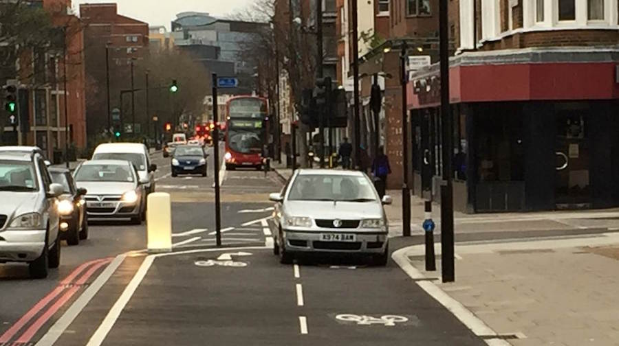 A  motorist enters the segregated cycle route at Pimlico. Image: MayorWatch