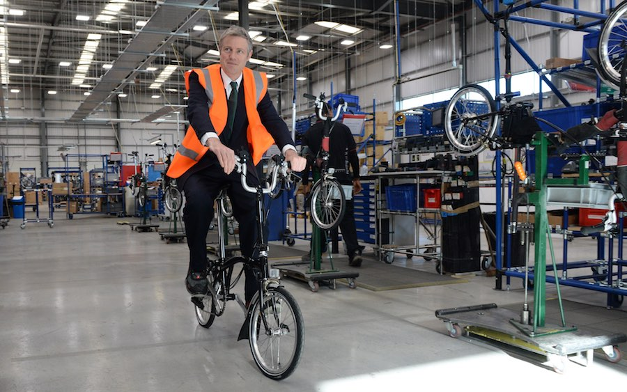 Zac Goldsmith visits Brompton bikes factory while campaigning. Picture by Andrew Parsons / i-Images