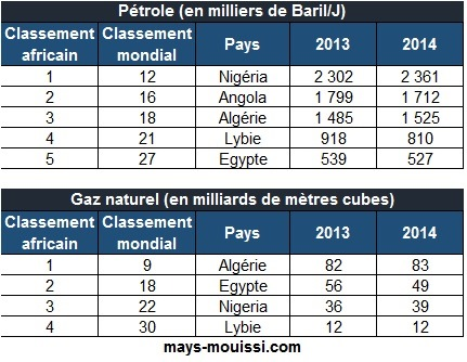 Classement 2014 des pays africains producteurs de pétrole et de gaz naturel
