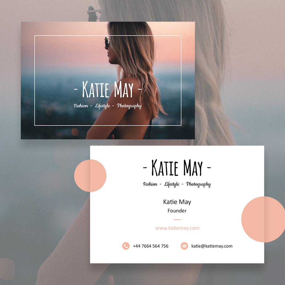 Fashion photography business card template may smith media photography business card template katie fbccfo Gallery