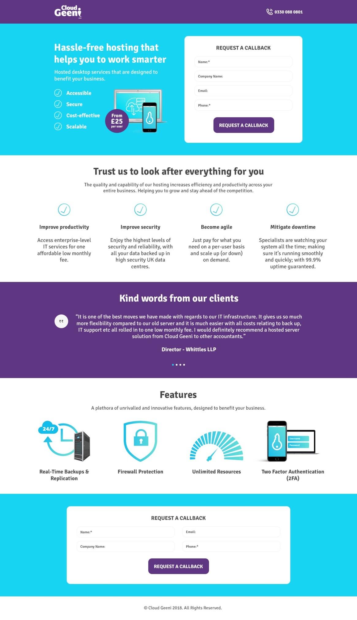 Cloud Geeni - Responsive Landing Page Design