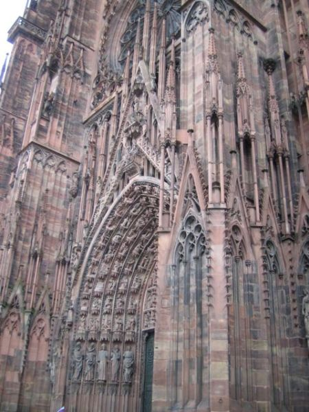 Closeup of the architecture of the Strasbourg cathedral