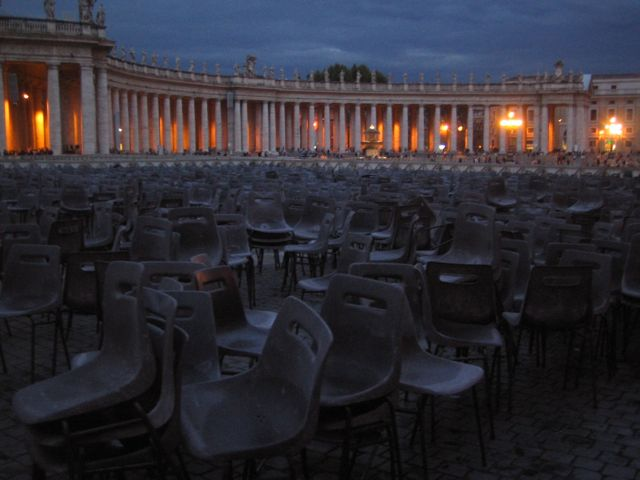 Empty St Peter's Square, Vatican City, after the Papal audience.