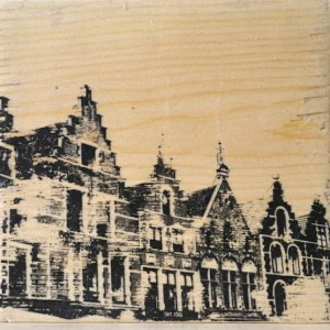 Distressed print of the Grote Markt houses in Bruges, Belgium