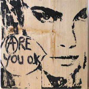Are You Ok Konny graffiti in Paris, France on wood