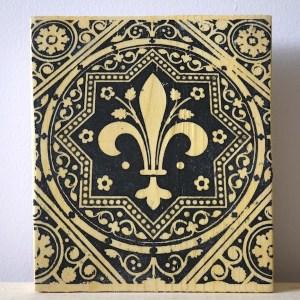 fleur de lis, flower lys, sainte chapelle, paris france, medieval tiles, religious iconography, circles and geometric designs, inlaid inlay floor tiles