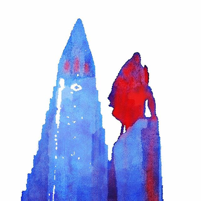 Erik the Red statue and church in Reykjavik painted by Waterlogue and Popsicolor apps