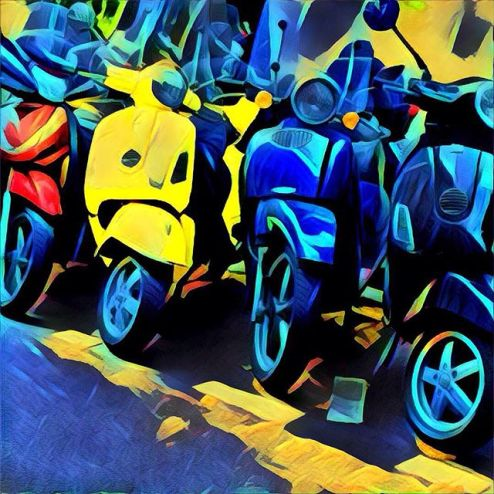 Prisma filtered motorscooters on a Paris street