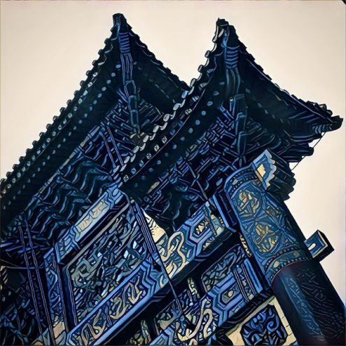 Prisma filter of blue Chinese gate in Washington DC