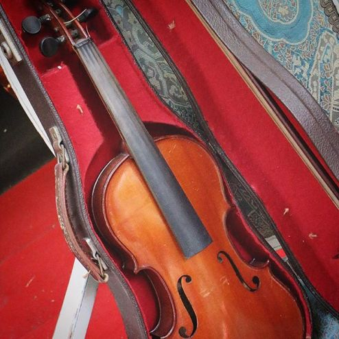 unstrung violin in velvet case, Paris French viola in carrying case