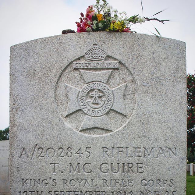 Grave of a relative who died in WWI in Cambrai, France