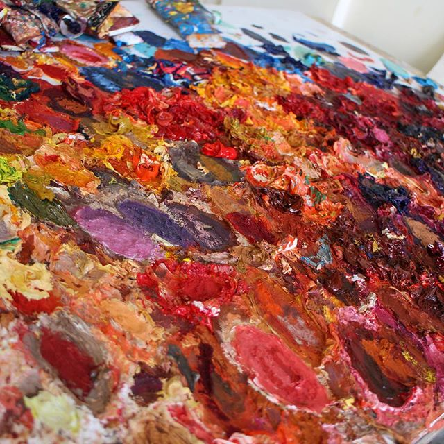 painter's palette, palate of paint, oil painting palet, mixing paints, photography of artwork