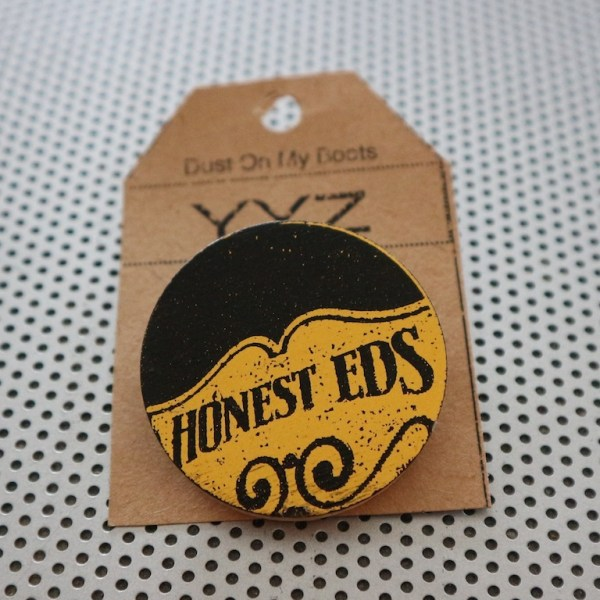 , fashion pins, wood brooch, pinback accessories, toronto street signs, handmade art pin, etsy seller, wood coin pins, toronto the good,