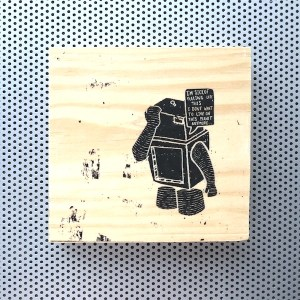 birmingham england graffiti, brummie town centre, paranoid android, marvin the robot, hitchhiker's guide to the galaxy, suicidal robot, i don't want to live, sick of feeling like this, wood block decor, graffito spray art home decor