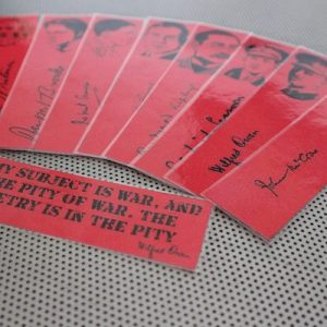 War Poets bookmarks / set of nine handmade portraits writers poets soldiers book mark / black on poppy red / Walt Whitman Wilfred Owen