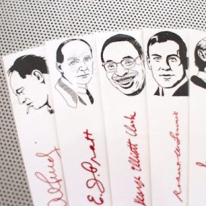 Canadian Poets bookmarks set of 9 / Poetry writers authors of Canada men portraits Service Clarke Purdy Alligator Pie book mark red white