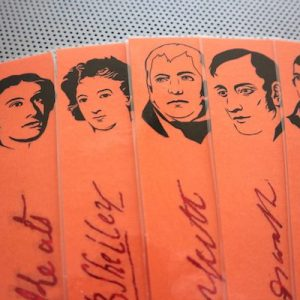 Romantic Poets bookmarks / set of nine handmade portraits of writers poets / Byron Burns Shelley Keats / terracotta and red book marks