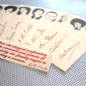 Second Wave Feminist bookmarks / set of nine handmade portraits poets feminist activists writers book mark red linen Greer Friedan Steinem