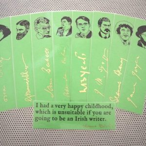 Irish writers bookmarks set of 9 handmade portraits Ireland's poets playwrights authors Yeats Joyce Wilde Shaw Behan book mark green gold
