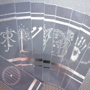 Lord of the Rings Moria / art print symbols / set of 9 handmade fantasy bookmarks / shiny silver metal foil on gray cardstock / laminated